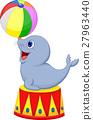 Illustration of Circus seal playing a ball 27963440