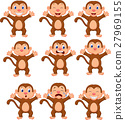 Cute monkeys in various expression 27969155