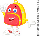 Cute bag cartoon with thumb up 27969431