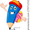 Pencils cartoon with school bags 27971232