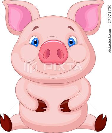 Cute babby pig sitting 27971750