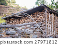 firewood in fire shed raw material for fuel 27971812