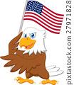 Eagle cartoon holding American flag 27971828