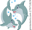 Cute dolphin couple cartoon 27971829