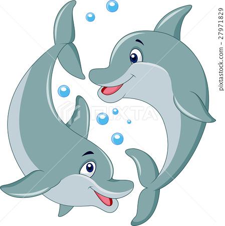 Cute dolphin couple cartoon 27971829