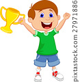 Boy holding gold trophy 27971886