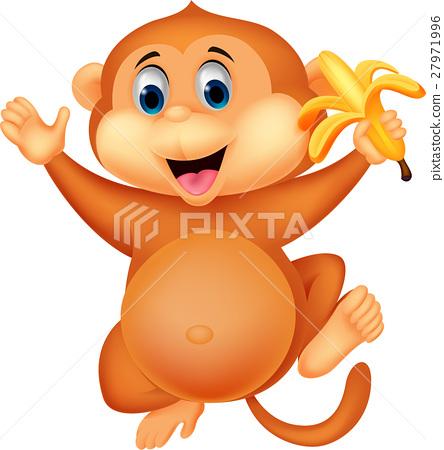 Cute monkey cartoon eating banana 27971996