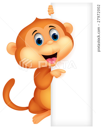 Cute monkey with blank sign 27972002