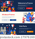 France travel banners set with famous French 27976160