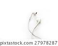 white earphones on white background, blank text 27978287