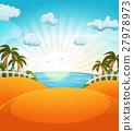 Cartoon Summer Beach Landscape 27978973