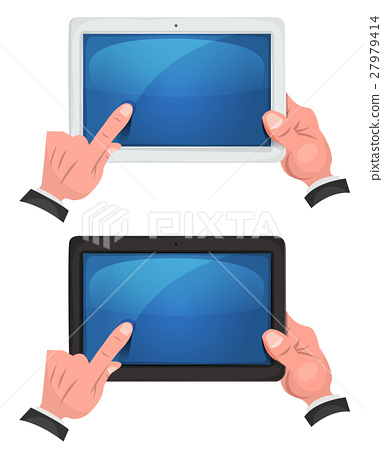 Hands Using Touch Screen On Digital Tablet 27979414