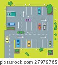 Parking Scheme with Car and Arrow. Vector 27979765