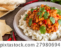 Chicken curry with rice and cilantro. 27980694