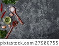 Background with spices, herbs and olive oil. 27980755
