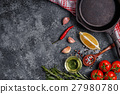 Background with spices, herbs, olive oil and pan 27980780