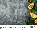 Food background with avocado, lemon, parsley and 27981079