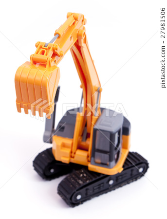 Toy tracked excavator with raised grab 27981506