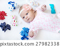 cute adorable newborn baby child with colorful 27982338