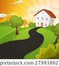 Summer House Inside Green Fields In Sunrise 27983862
