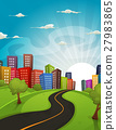 Downtown Cartoon Landscape 27983865