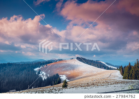 Carpathian mountains in winter time 27984762