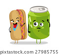 Funny hot dog and soda can cartoon character 27985755