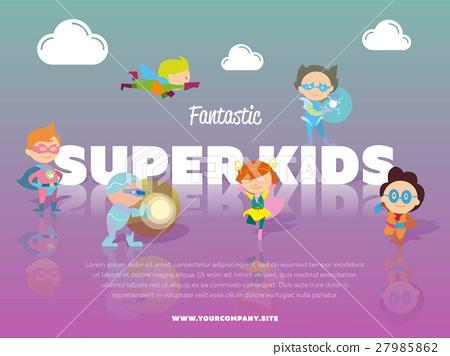 Fantastic super kids banner with children 27985862