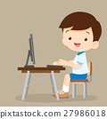 cute student boy working with computer 27986018