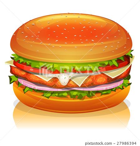 Chicken Burger Icon 27986394