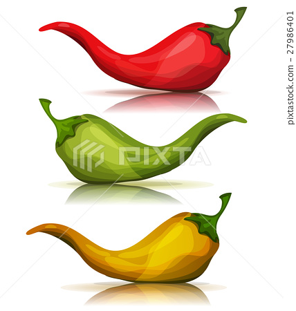 Cartoon Red, Green And Yellow Hot Chili Pepper 27986401