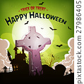 Halloween Holidays Background With Tombstone 27986405