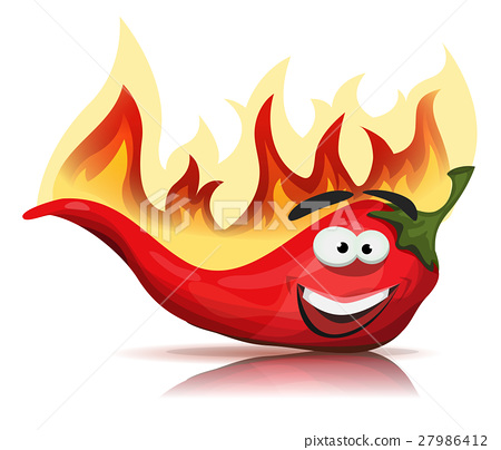 Red Hot Chili Pepper Character With Burning Flames 27986412