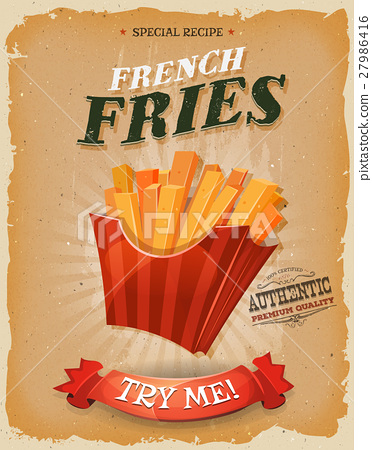 Grunge And Vintage French Fries Poster 27986416