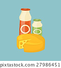 Dairy products isolated on blue background 27986451