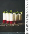 Dessert in glass with blackberries and mint, copy 27987201