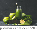 Green smoothie in glass bottle with apple, romaine 27987203