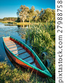 Lake Or River And Old Wooden Blue Rowing Fishing 27988758