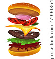 Fast Food Burger Icon With Ingredients Layers 27990864