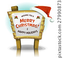 Santa Claus Hat On Funny Wood Sign 27990873