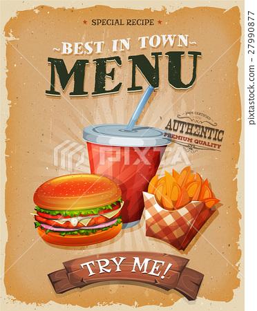 Grunge And Vintage Fast Food Menu Poster 27990877