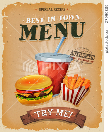 Grunge And Vintage Fast Food Menu Poster 27990889