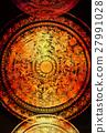 filigrane floral ornament on black backgrond 27991028