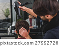 Professional hairdresser making human head dry 27992726