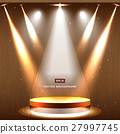 gold stage with spotlight and star on wood 27997745