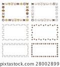 各種狗,骨頭和爪子的裝飾框架 28002899