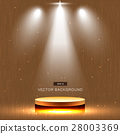 gold stage with spotlight wood background 28003369