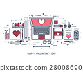 valentine, message, laptop 28008690