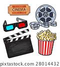 Cinema objects: popcorn bucket, film roll, ticket 28014432