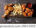 Fried chicken legs with french fries 28015092